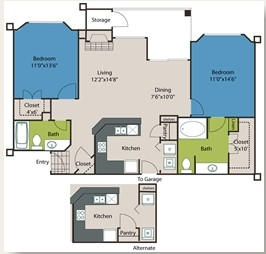 1,031 sq. ft. B1 floor plan