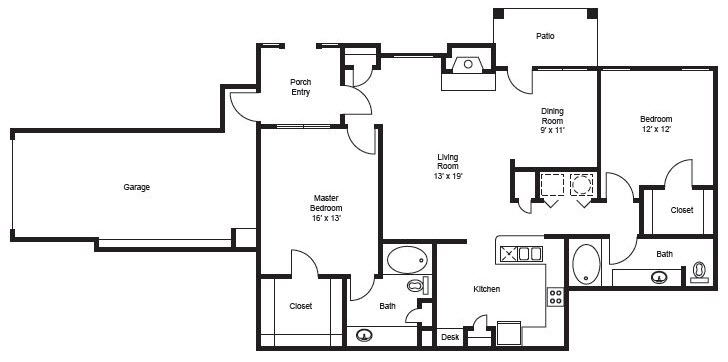 1,267 sq. ft. B3-Garage floor plan