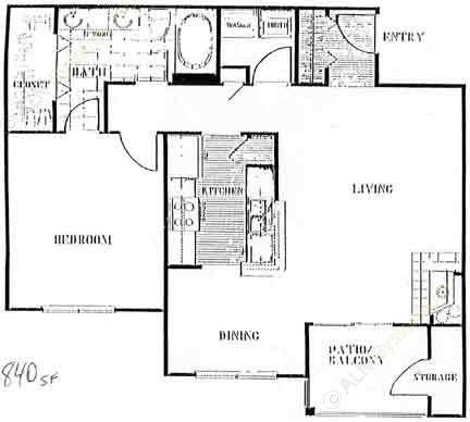 840 sq. ft. to 920 sq. ft. C floor plan