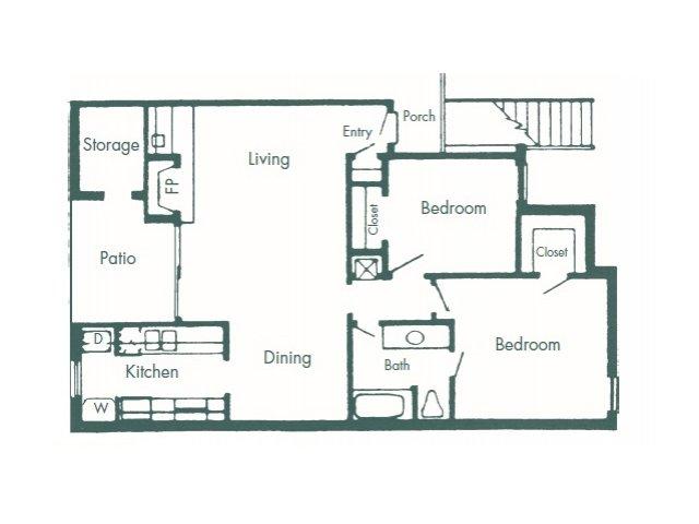 952 sq. ft. C floor plan
