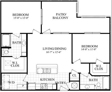 1,100 sq. ft. E floor plan