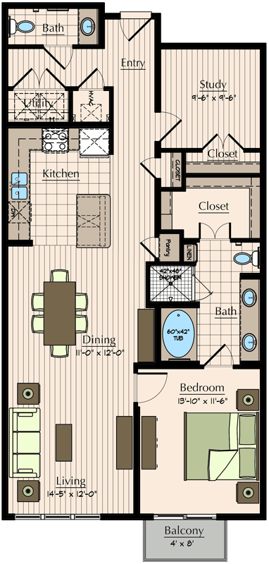 1,158 sq. ft. floor plan