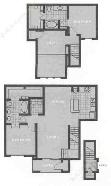 1,390 sq. ft. B2 floor plan
