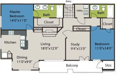 1,328 sq. ft. B4L floor plan